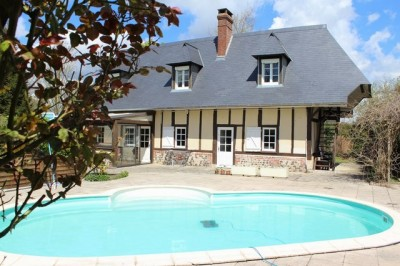 Acheter une maison normande et sa piscine chauffée région Pont-Audemer Eure 27500